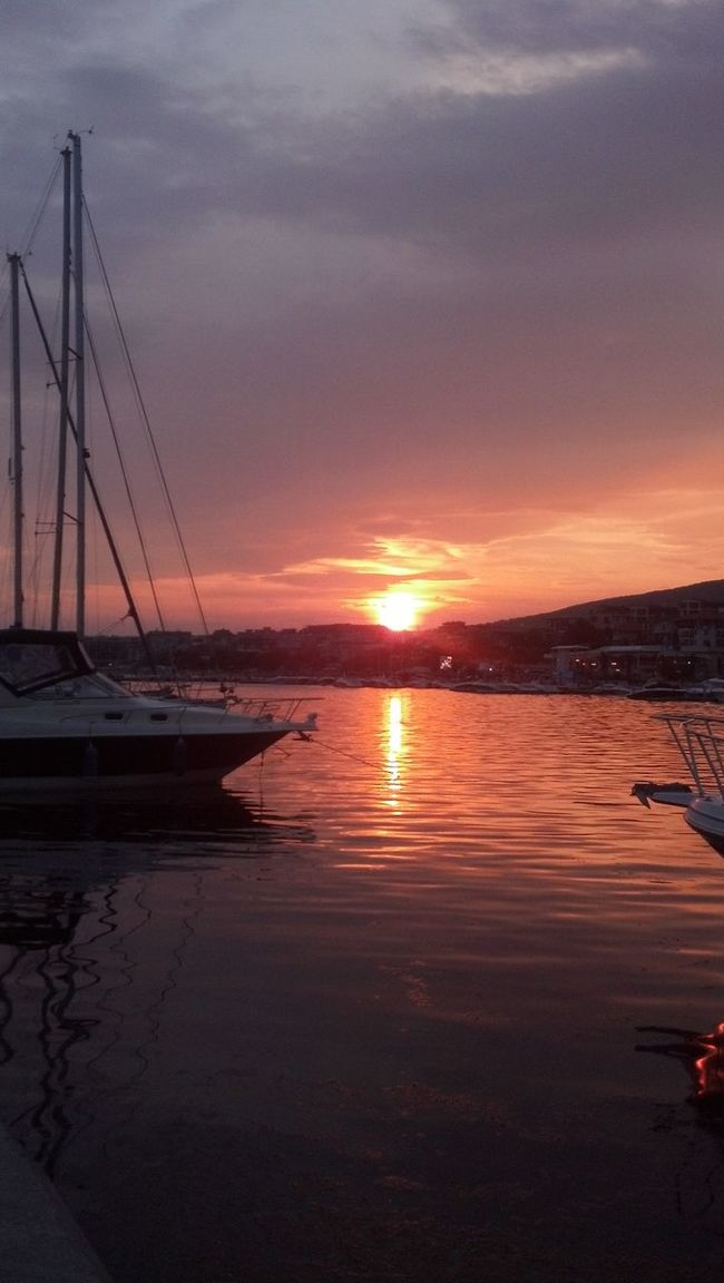 Sunset Water Sun Reflection Tranquil Scene Sea Beauty In Nature Sky Nature Bright Blacksea Boat Dock Orange Color Majestic Bright Sky Bridhtsunset Pink Pink Sky Purple Purple Sky Mooring Berth Yacht