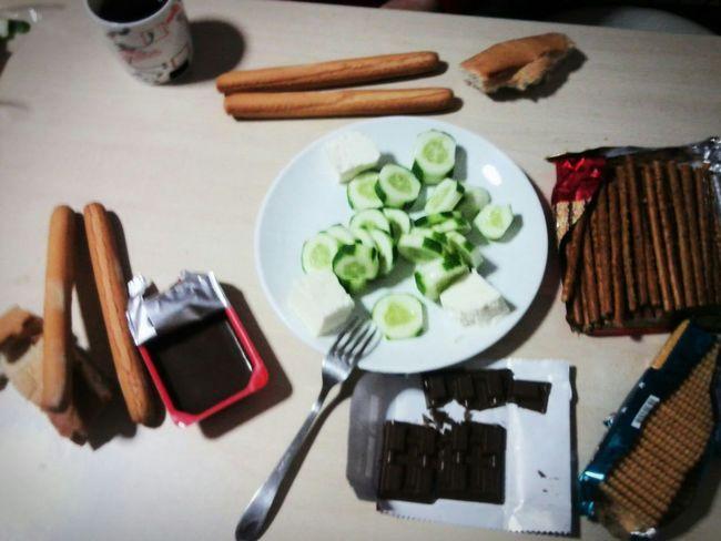 My first dinner in dormitory. Dormitory Dinner Dinnertime Dinner! Yurt Yurttan Yurtlife Akşam Yemeği Summer 2014 Chocolate Cucumber Cucumbersalad Cheese Bread On Thetable Yabancı Fakirlik Poverty Show Us Your Takeaway!