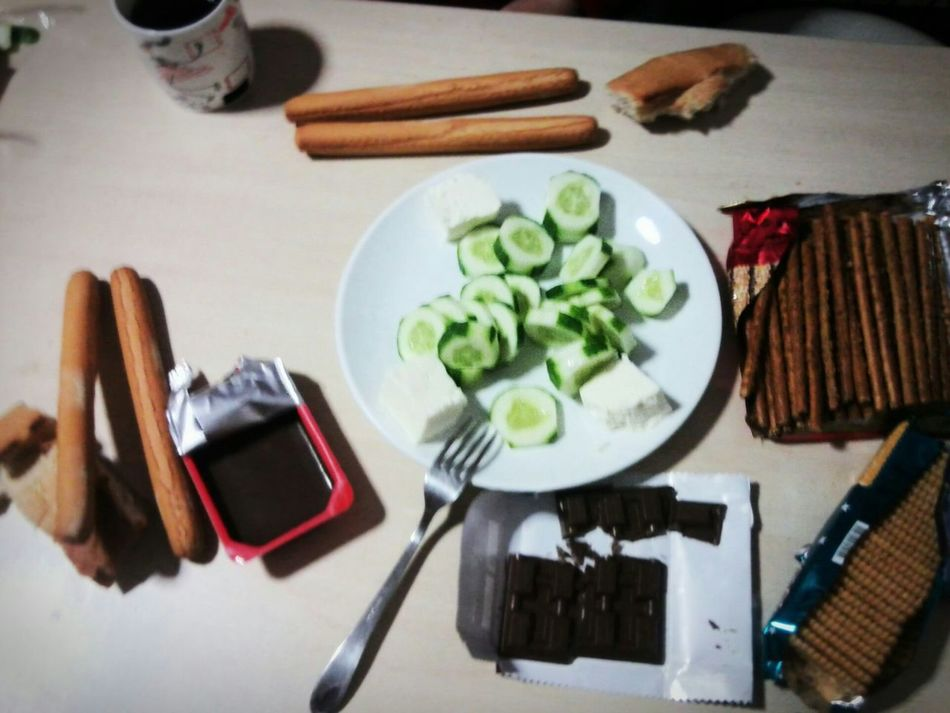 My first dinner in dormitory. Dormitory Dinner Dinnertime Dinner! Yurt Yurttan Yurtlife Akşam Yemeği Summer 2014 Chocolate Cucumber Cucumbersalad Cheese Bread On Thetable Yabancı Fakirlik Poverty Show Us Your Takeaway!