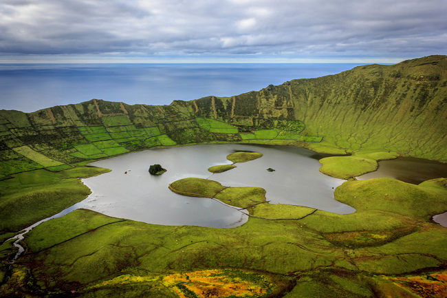 Azores Beauty In Nature Clouds Corvo Island Green Color Island Lake Landscape Nature No People Outdoors Scenics Sea Sky Water