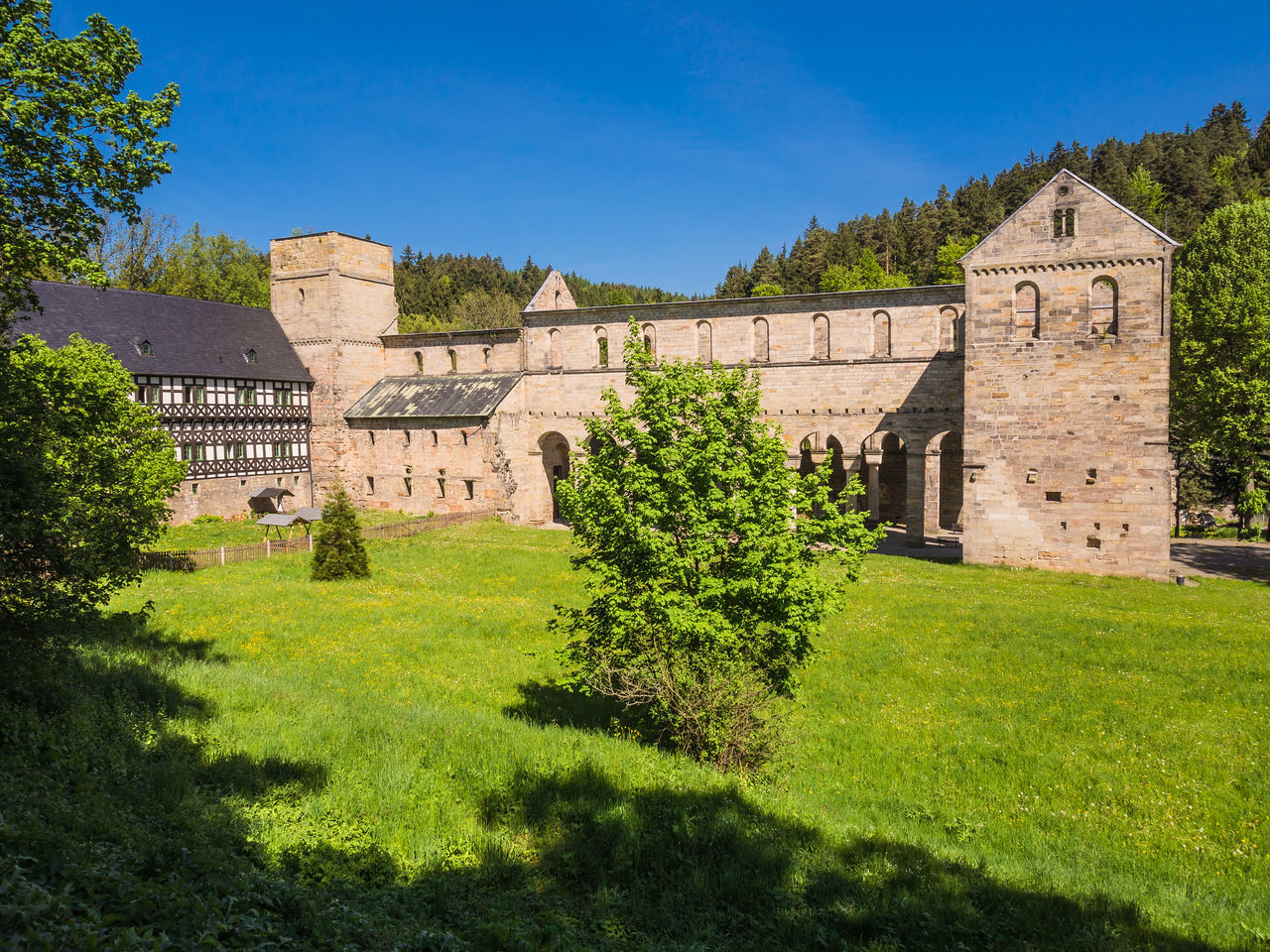 Monastery Paulinzella in Thuringia, Germany. Abbey Architecture Blue Building Exterior Clear Sky Cloister Convent Cultures Day History Landscaped Military Monastery No People Outdoors Paulinzella Royalty Sunlight The Past Thuringia War