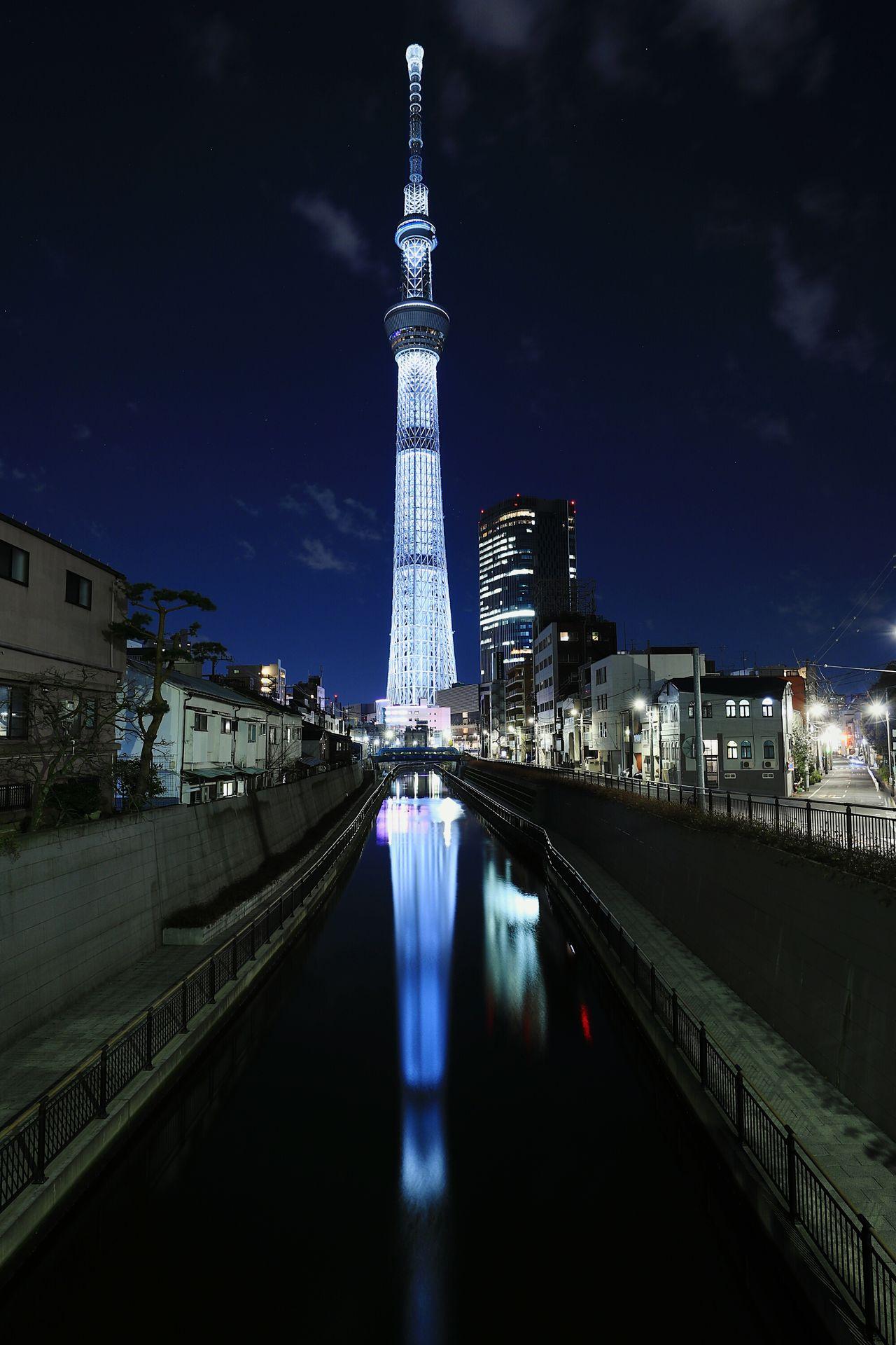 Night Reflection Tower Skyscraper Nightview Nightscape Nightphotography Illuminated Tokyo Japan Tokyoskytree Skytree Urban Landscape River Landscape