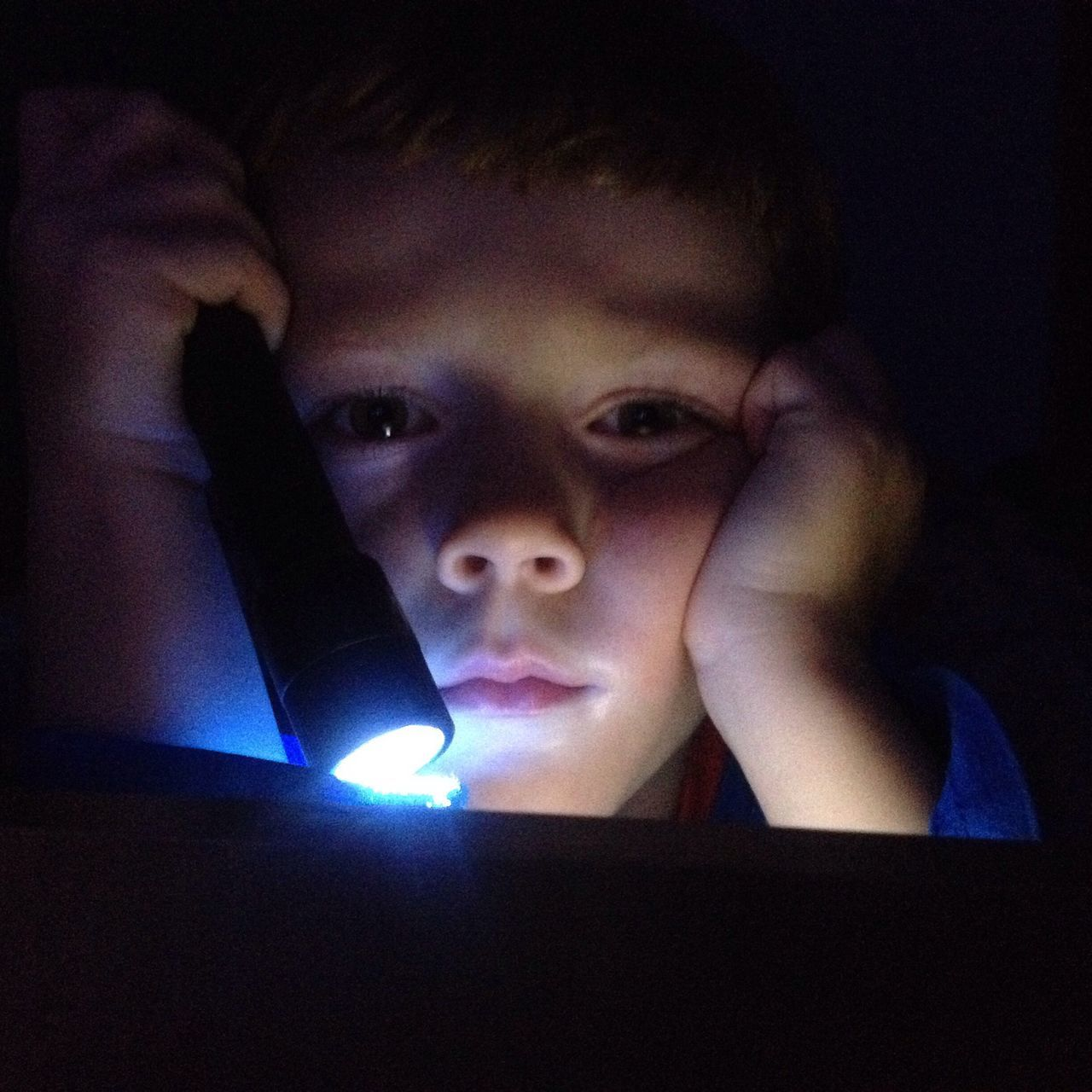 By torch light Real People Headshot One Person Child Childhood Torch Torchlight Reading Looking At Camera Illuminated Portrait Boy