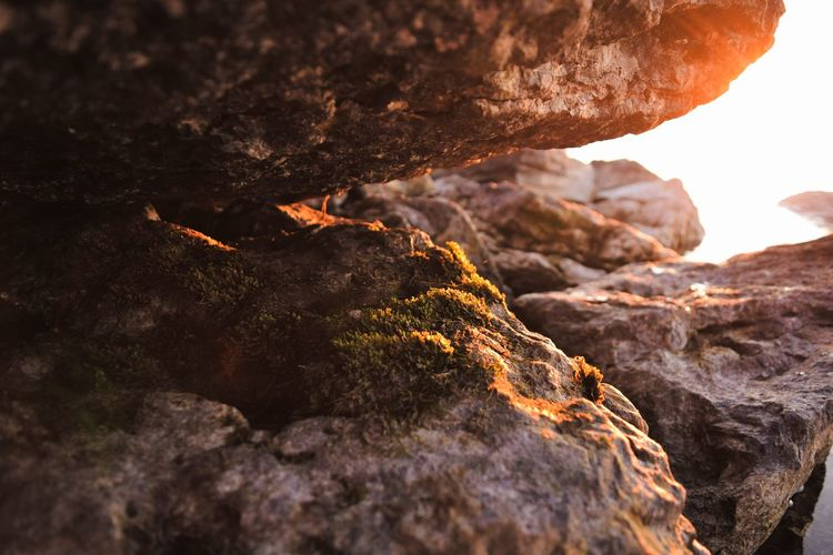Pronounced Moss Rock - Object Rock Formation Nature Geology Outdoors Beauty In Nature No People Landscape Scenics Travel Destinations Day Sky Door County Lake Sunset Sunset_collection Selective Focus Green Color Growth Tranquility EyeEmNewHere