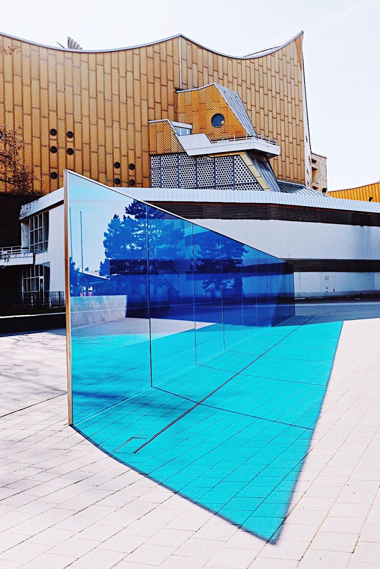 Berlin treasures 💠 Architecture building exterior built structure Sunlight City Modern outdoors day art sculpture blue glass Berlin