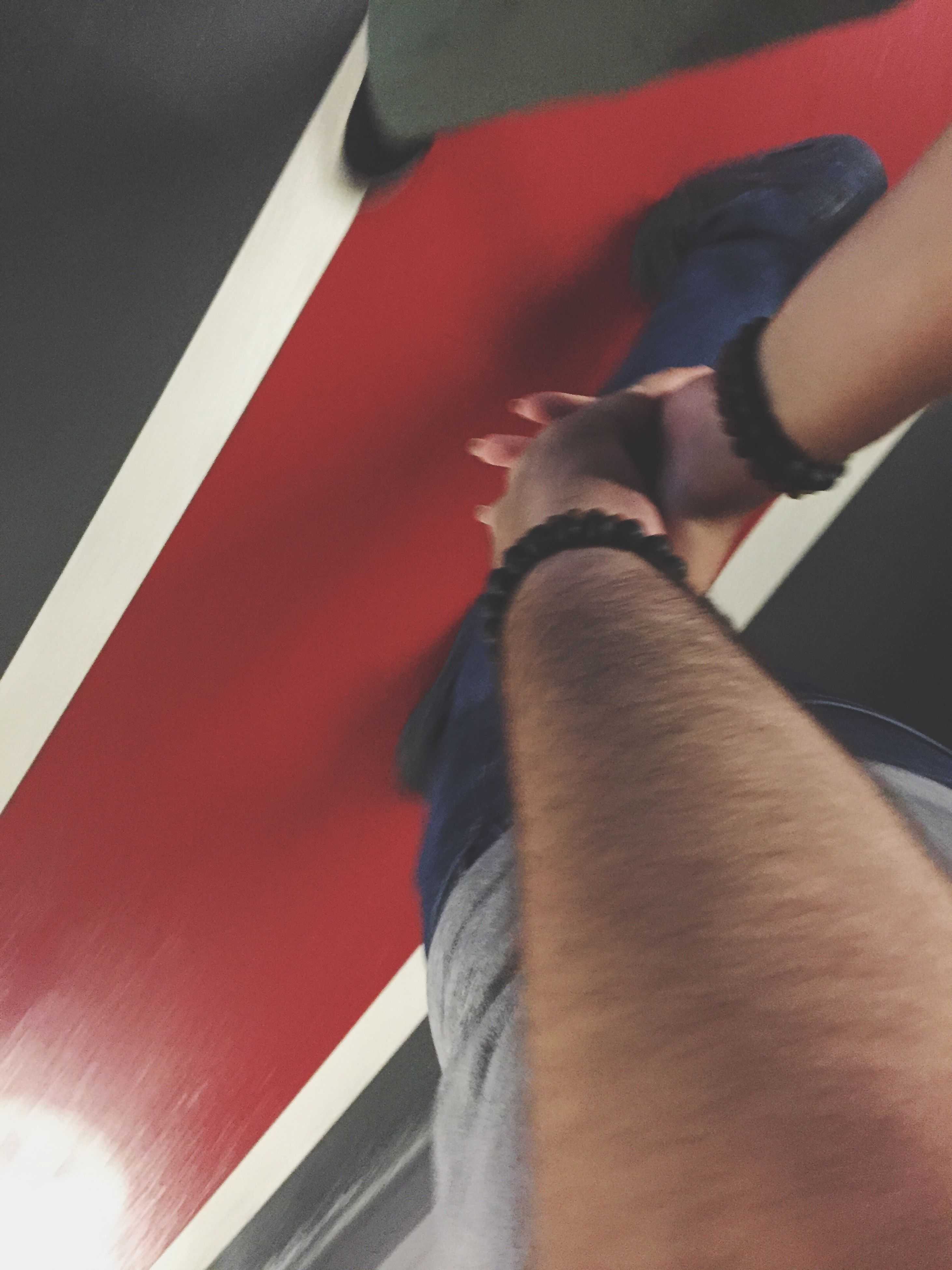 low section, red, person, indoors, men, close-up, footwear, shoe, personal perspective, well-dressed
