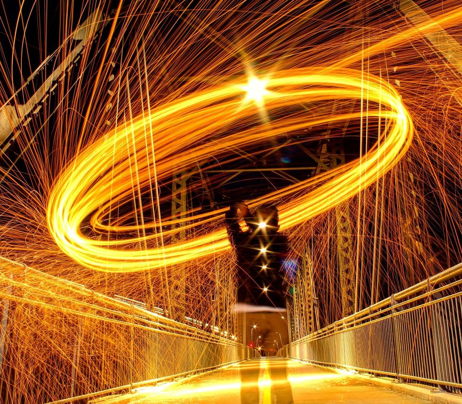 Spin! Long Exposure Motion Speed Illuminated Night Blurred Motion Wire Wool Outdoors