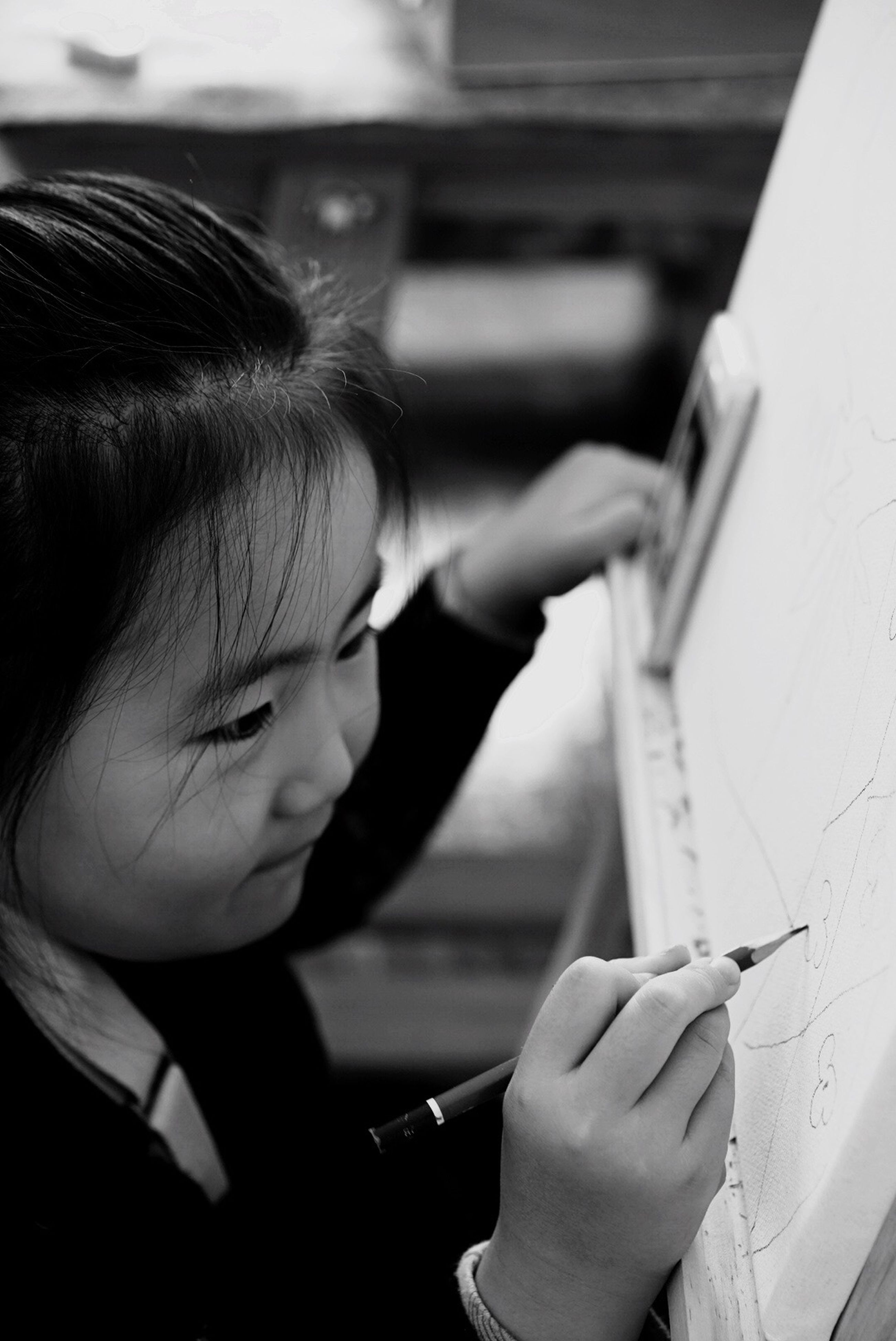 one person, creativity, art and craft, real people, drawing - activity, indoors, young adult, drawing - art product, close-up, young women, one young woman only, people, day, human body part, adults only, adult
