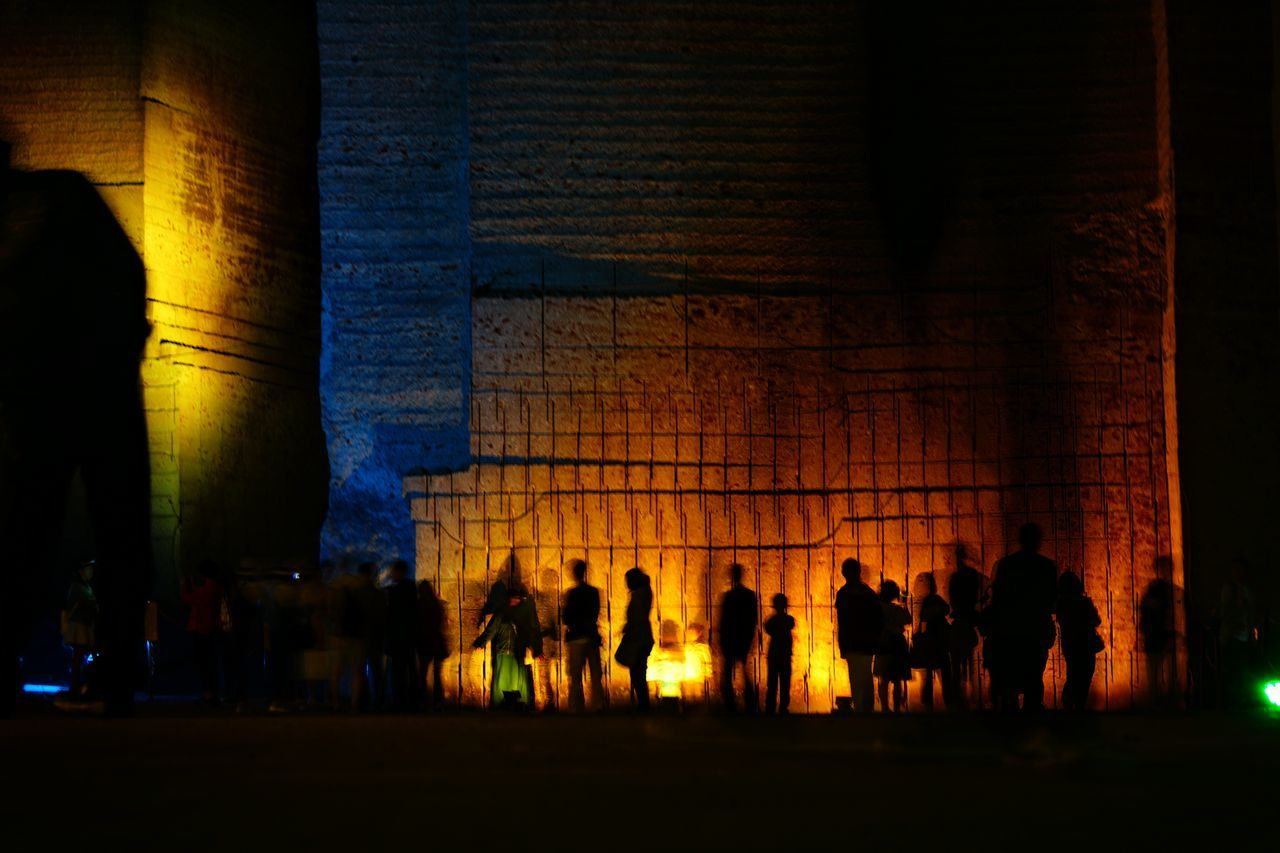 large group of people, real people, silhouette, indoors, leisure activity, women, night, men, built structure, lifestyles, illuminated, togetherness, architecture, people, adult, adults only