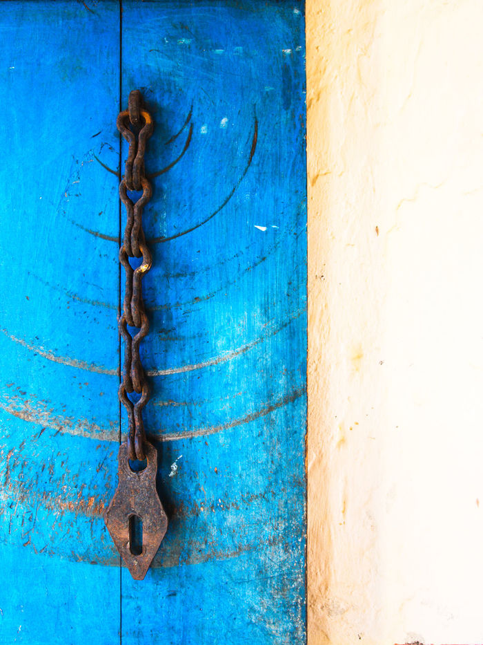 Old door. Blue Close-up Rusty Metal Day Strength Outdoors No People Hinge Chains Door Prison Island Turtle Island