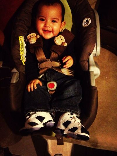 Jayden in the Retro 6's I bought him