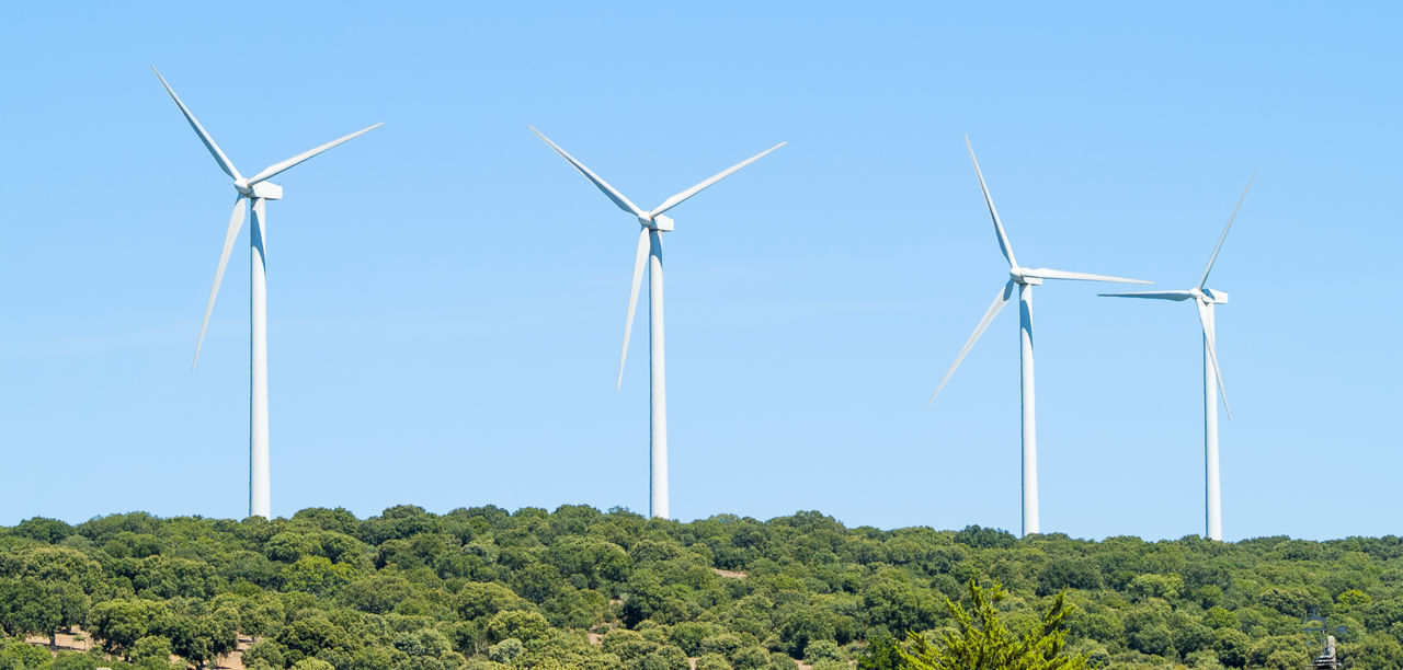 wind turbine, wind power, alternative energy, environmental conservation, renewable energy, fuel and power generation, windmill, industrial windmill, tree, nature, field, day, no people, outdoors, green color, rural scene, blue, landscape, beauty in nature, technology, sky