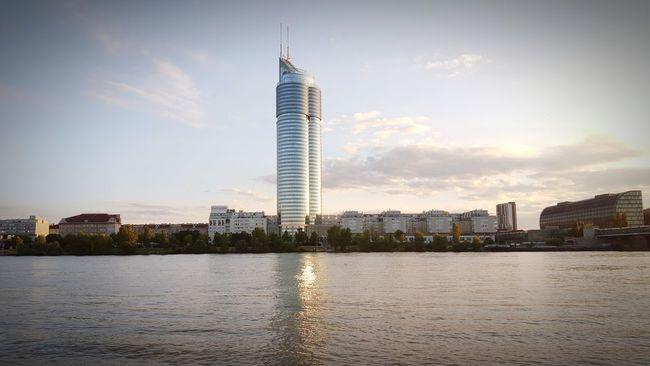 Donauinselfest Donau Vienna Island Tower Millenium Tower Towers Sunset River Austria