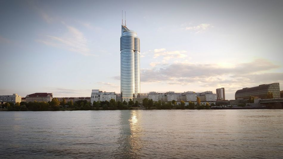 Donauinselfest Donau Vienna Island Tower Millenium Tower Towers Sunset River Austria