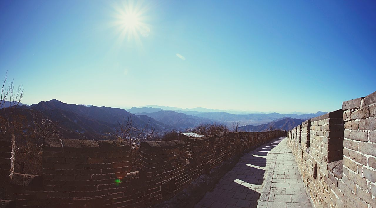The Great Wall The Great Wall Of China Mountains Mountain Range View Landscape Panorama Nature Outdoors China ASIA Travel Traveling Heritage Culture History Architecture Monument Blue Sky Sunlight Scenics No People
