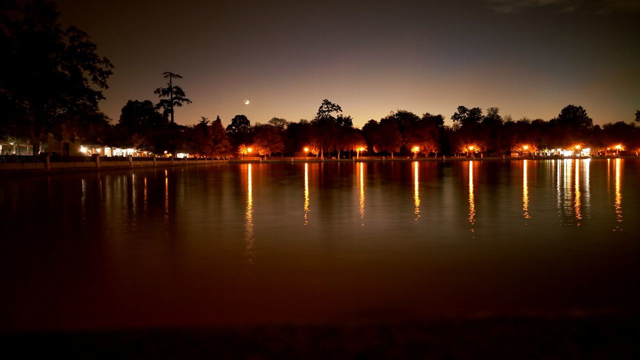El Retiro Anochecer Noche Larga Exposicion Luces Nature Nocturna No People Night Lake Tranquility Water Reflection