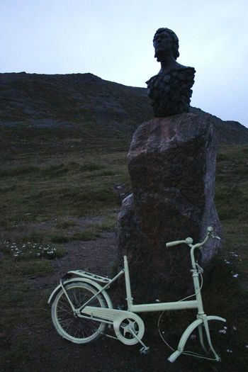 the statue. Honningsvag Prestvatnet Norway Hiking Hills Landscape Nature Illuminated Rocks No People Outdoors Bicycle Statue Summernight