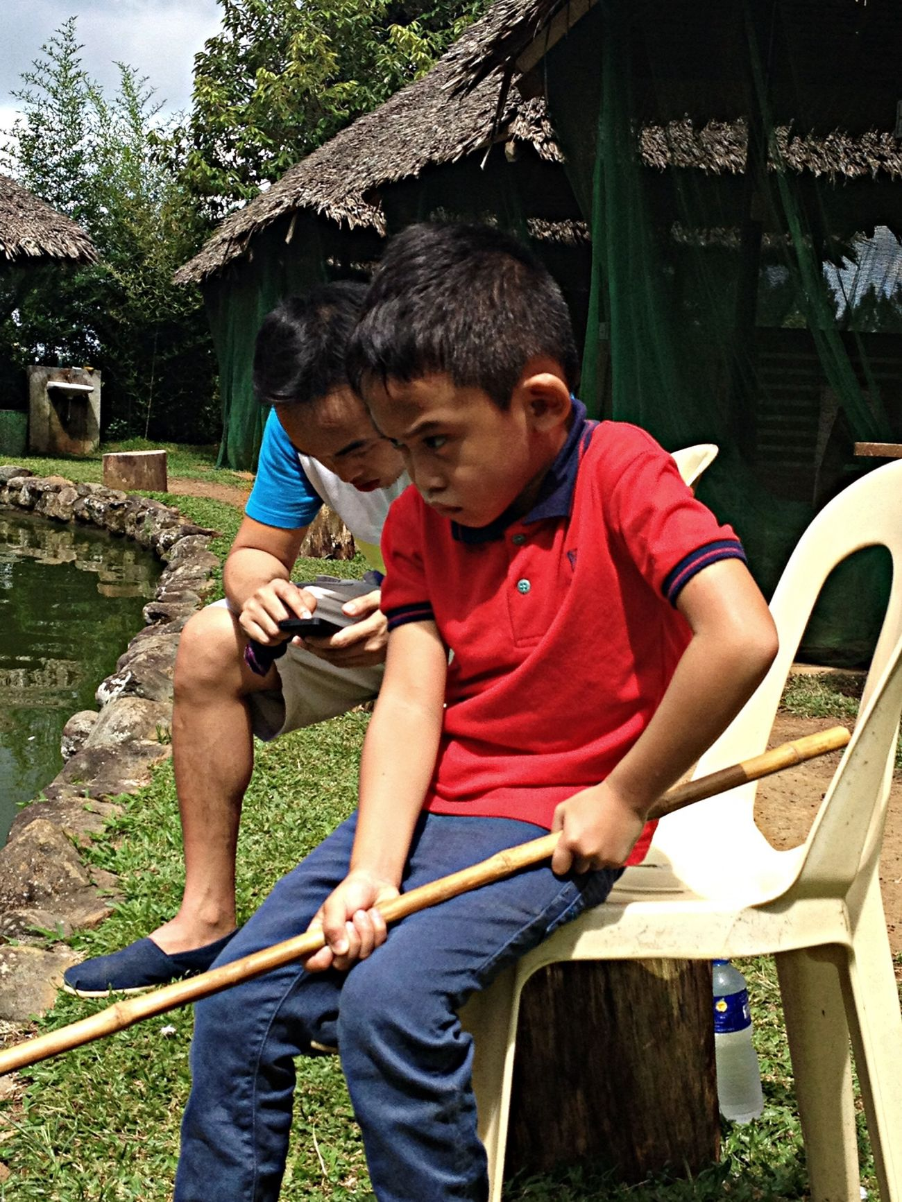 """Fishing at Eden with these two.❤️ KD with his game face on.. Sabi nya, """"im so ready to catch a fish."""" Cute! ? Soaking Up The Sun Escaping Enjoying The Sun Fishing"""