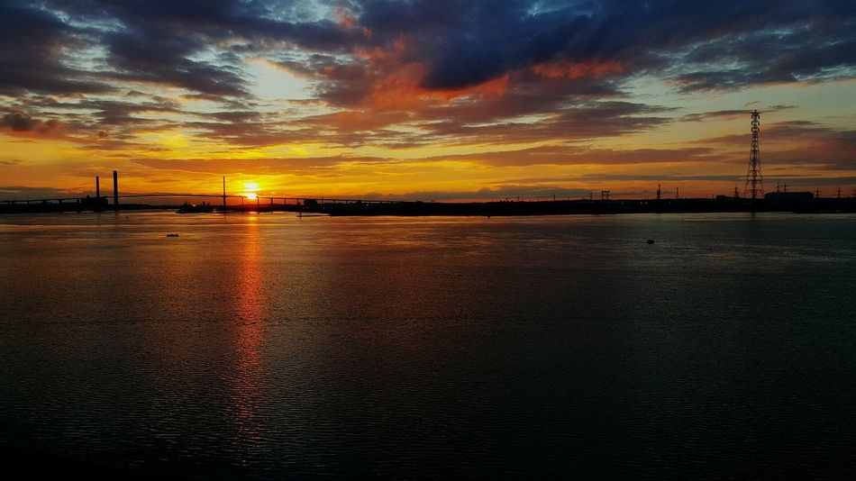 Relaxing Reflections Water Reflections Thames Bridges Bridge - Man Made Structure Dartfordcrossing Greenhithe Dartford River Thames River 43 Golden Moments Sunset Dramatic Sky Awesome Awe Inspiring Sunset Breathtaking Glorious Colour Of Life