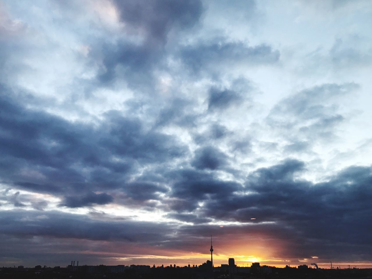 Berlin Sunset Skyline Sillhouette TV Tower Sky Cloud - Sky Building Exterior Outdoors Architecture No People Built Structure Nature Silhouette Storm Cloud Low Angle View Dramatic Sky Scenics Beauty In Nature Day Cityscape
