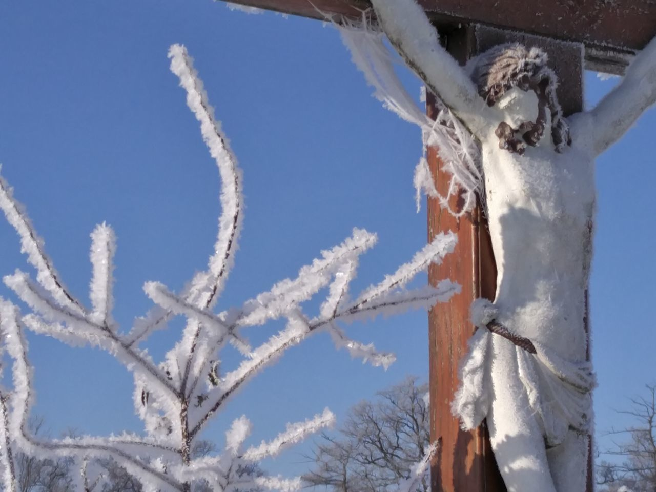 """Marterl"" im Mostviertel (Christ in the fields) Walking Around Detail Close-up Cold Temperature Winter White Frost Art Frost Religion Religious Art Christ Crucifix Snow Oneplus2"