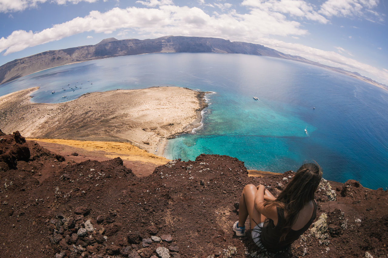Beauty In Nature Canary Islands Day EyeEm Best Shots EyeEm Nature Lover Fisheye Girl La Graciosa Landscape Landscape_Collection Landscape_photography Lanzarote Lifestyles Mirador Del Río Mountain Nature Ocean Ocean View One Person Outdoors Sea Travel Water Women Women Around The World