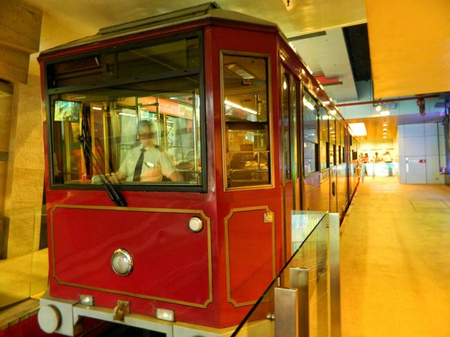 Colour Of Life Tram Car Ready To Go One More Trip Victoria Peak, Hongkong Old World Charm Tram Station  Eye Candy Brilliant Colors Gloss, Shine, Luster, Splendor, Sheen, Sparkle