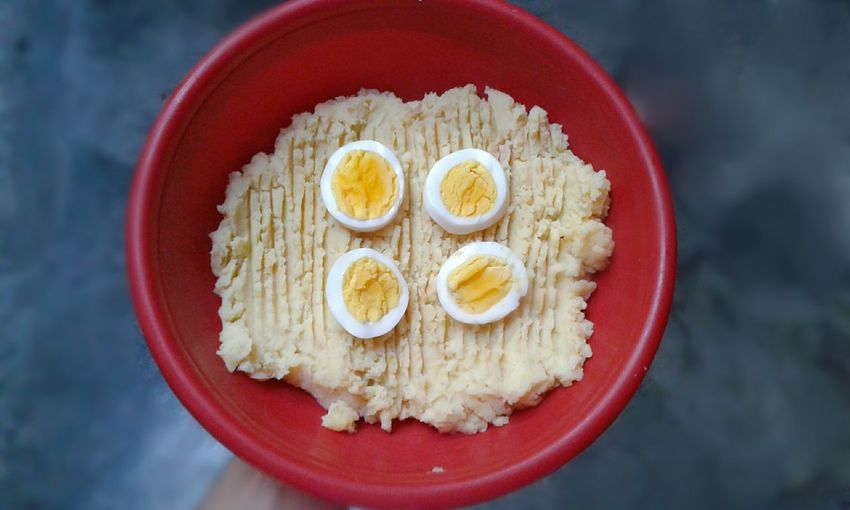 Food Boiled Eggs Boiled Potatoes Mashedpotatoes Red Bowl Greybackground The OO Mission Colour Of Life