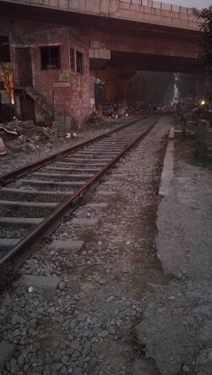 railroad track, transportation, rail transportation, architecture, railway, built structure, no people, railroad, night, outdoors