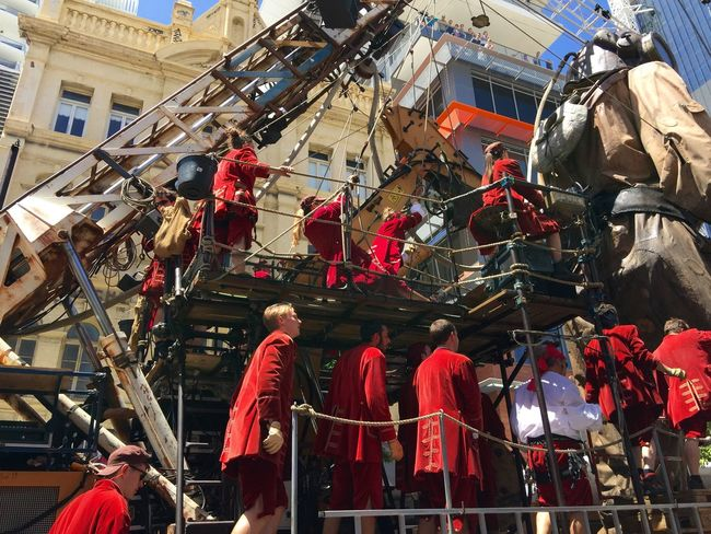 PERTH, AUSTRALIA-FEBRUARY 14, 2015: Journey of the Giants, Giant Marionette Diver and Crane with Puppeteers, public International Arts Festival Art Art Event Australia Australianshepherd Belts And Pulleys City Cityscape Crane Crowds Culture Diver Festival Giant Human International Journey Marionette People Puppeteers Walking Winchester Wooden