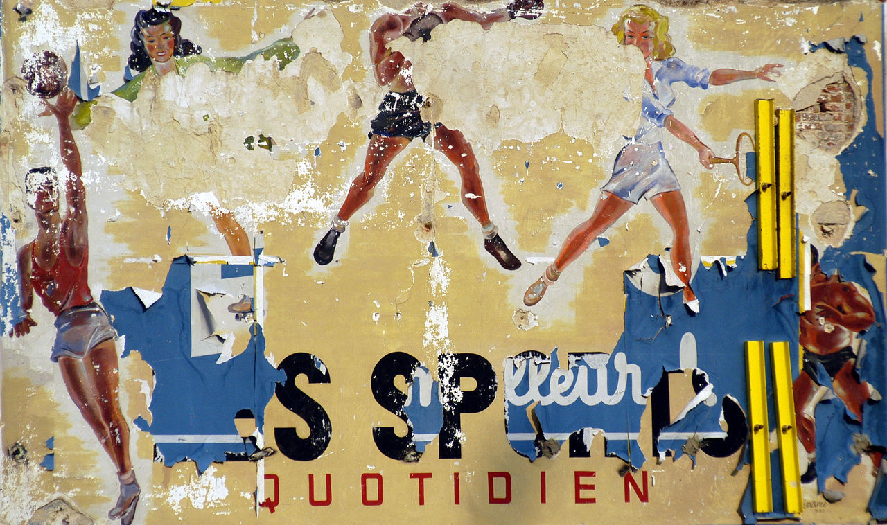 Brussels Old Fashioned Advertising On The Wall Outdoors Painting Shreds Sports Wall