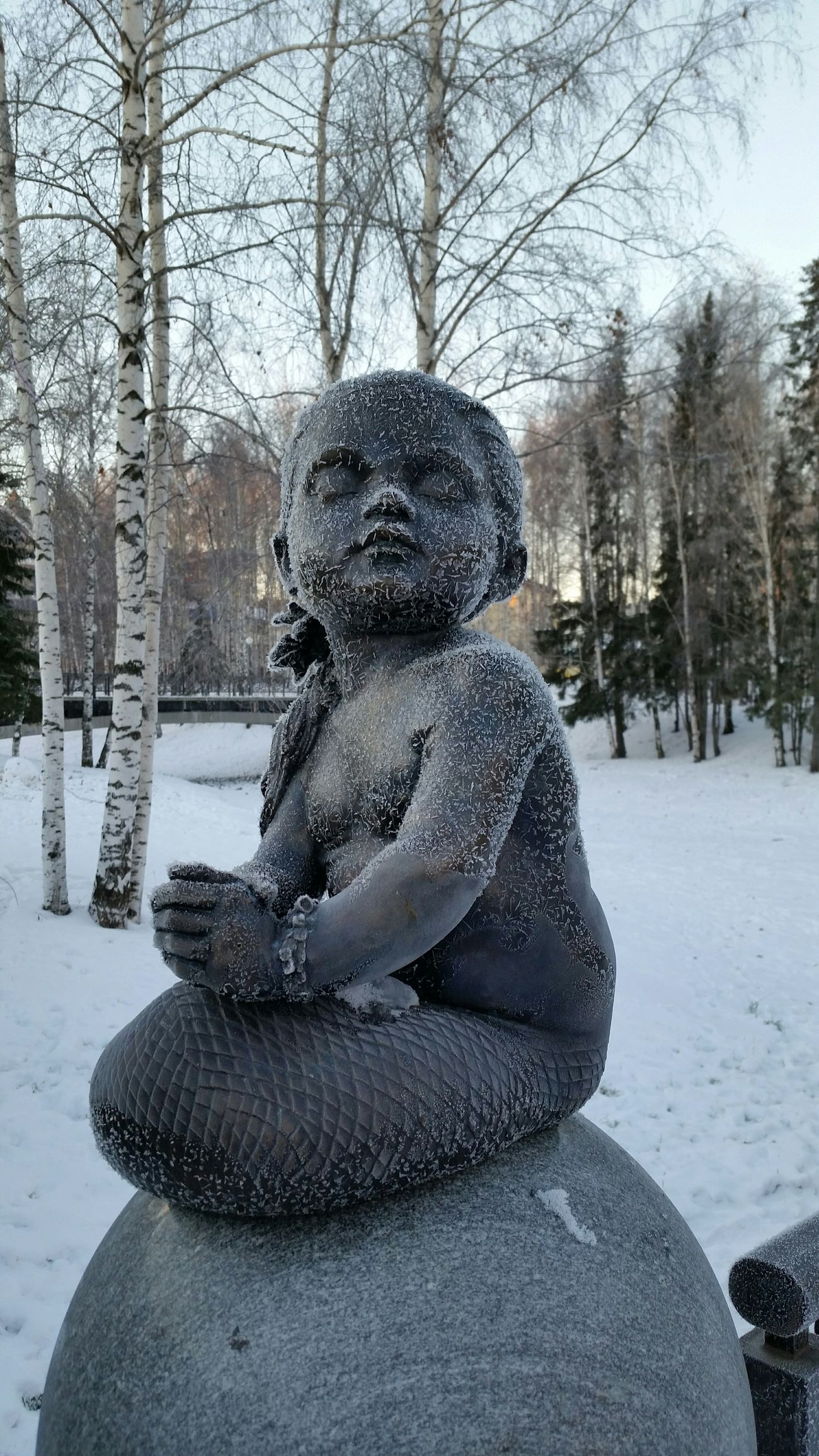 Русалка замерзла скульптура Mermaid Frozen Sculpture Morning