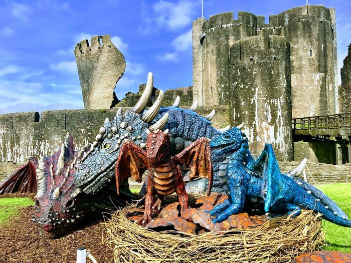 Caerphilly Castle, Dragons Baby Dragon Wales Castle Wales UK