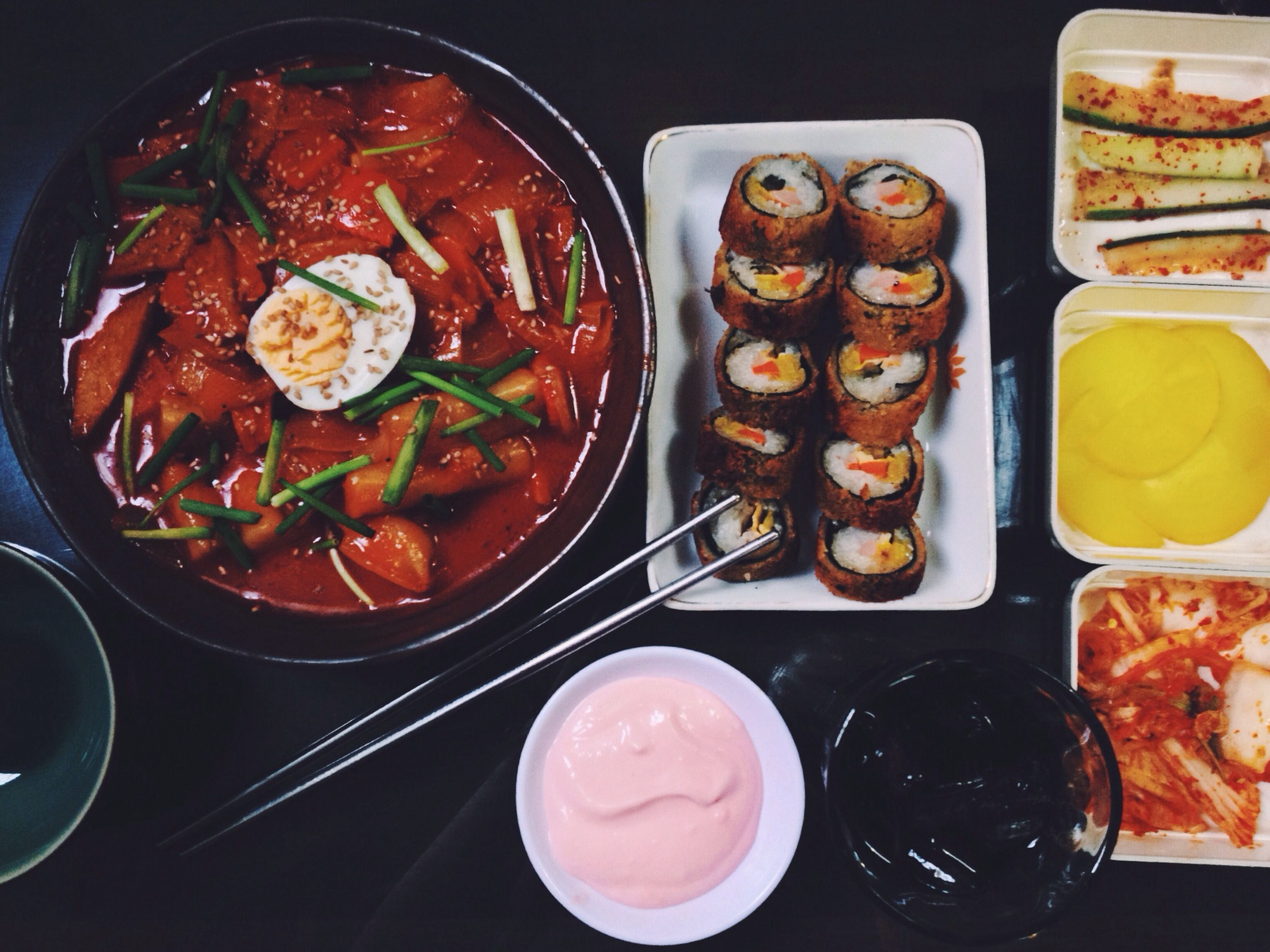 food and drink, food, indoors, freshness, still life, ready-to-eat, bowl, high angle view, plate, table, healthy eating, variation, meal, indulgence, serving size, choice, sweet food, close-up, abundance, no people