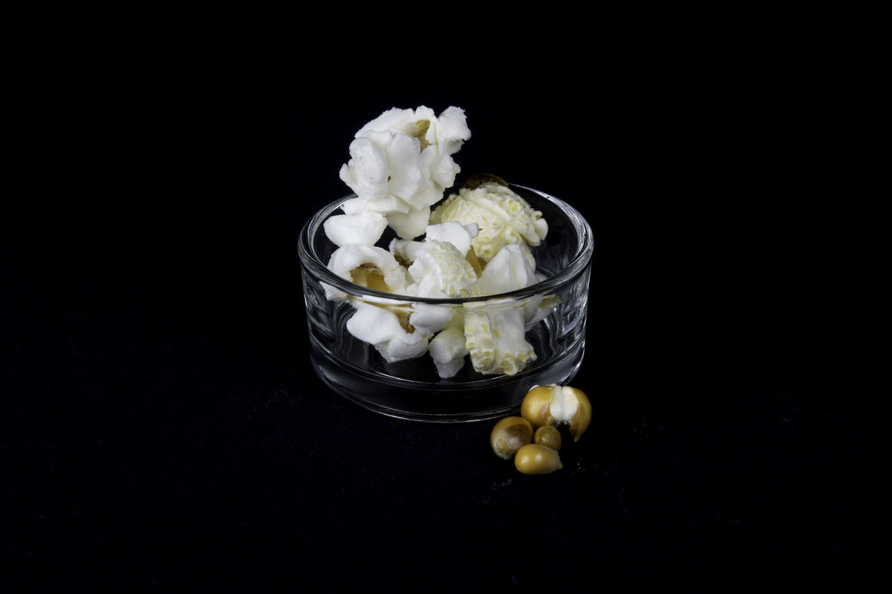 Small bowl of popcorn Black Background Close-up Day Food Food And Drink Freshness Healthy Eating Indoors  Kernel No People Popcorn Ready-to-eat Scnack Studio Shot