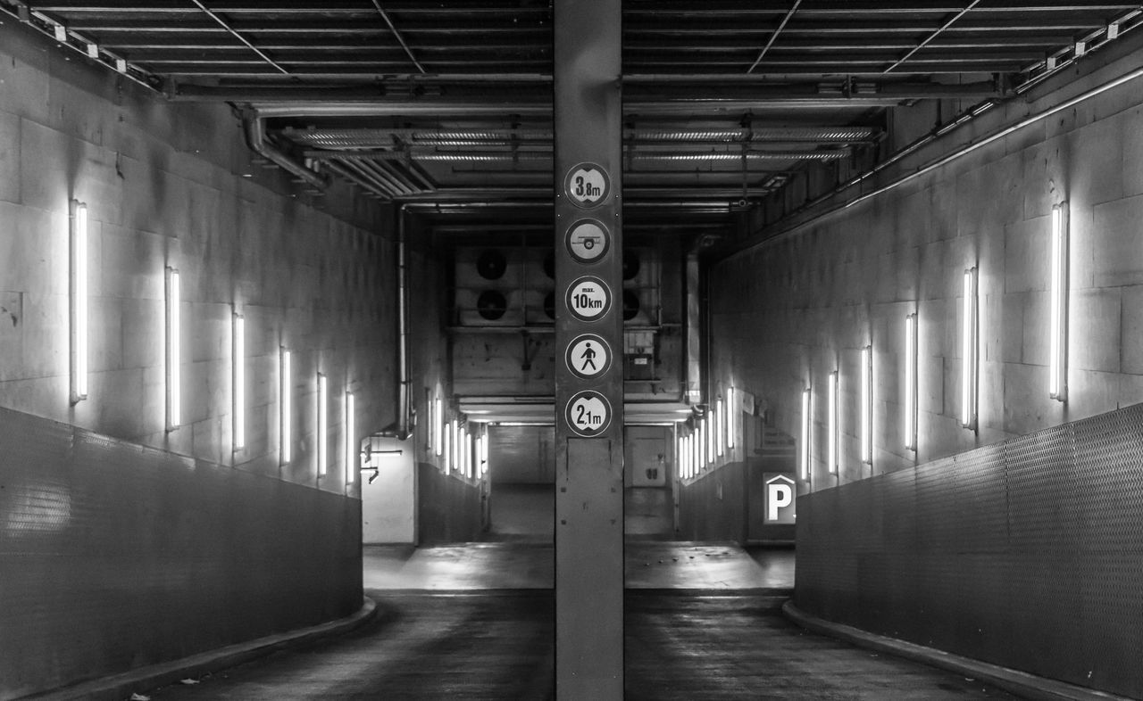 Architectural Column Architecture Black & White Black And White Built Structure Day Einfahrt Entrance Garage Illuminated Indoors  No People Parkhaus Parking Garage Urban Urban Exploration