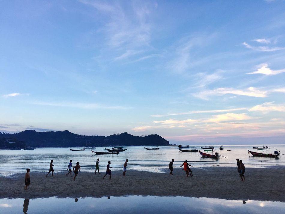 Beach Sunset Soccer Thai Boat Longtailboat Nature Kids Football