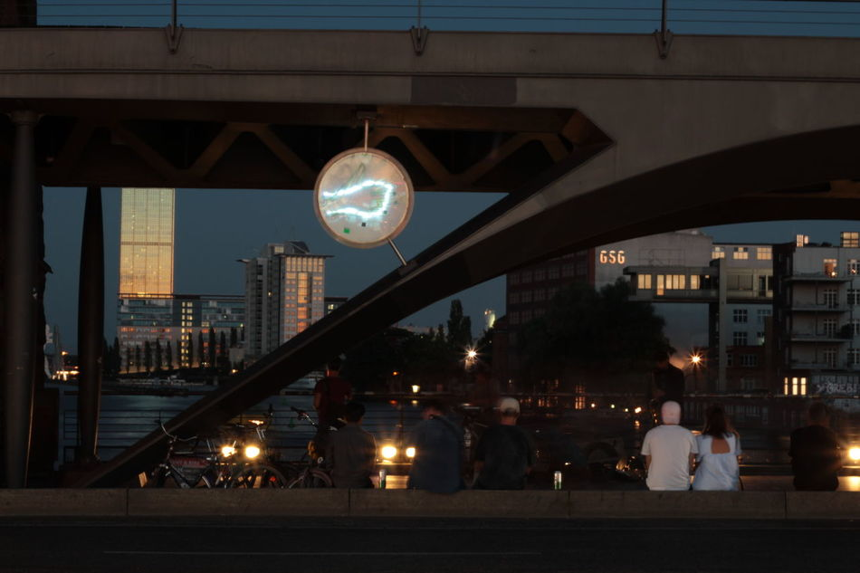 Berlin Bridge Illuminations Bridge Photography Evening Atmosphere Friedrichshain People Sitting Under The Bridge Sunset Warschauer Brücke Warschauerbrücke