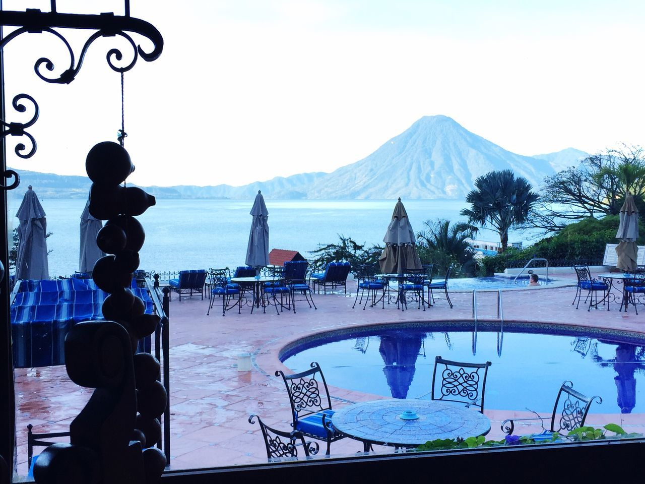 View from the restaurant, Hotel Atitlan Atitlan Lake Guatemala Panajachel  Hotel Atitlan
