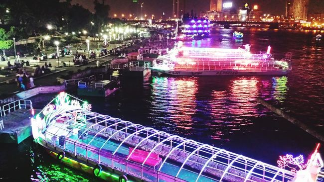 Egypt Cairo Nile River Amazing View Light Reflections Night Beautiful River Giza People Cellphone Photography Samsung S4 Tourist Cruise Boat Nice Nile Water City Cairobeauty Ship Water Reflections