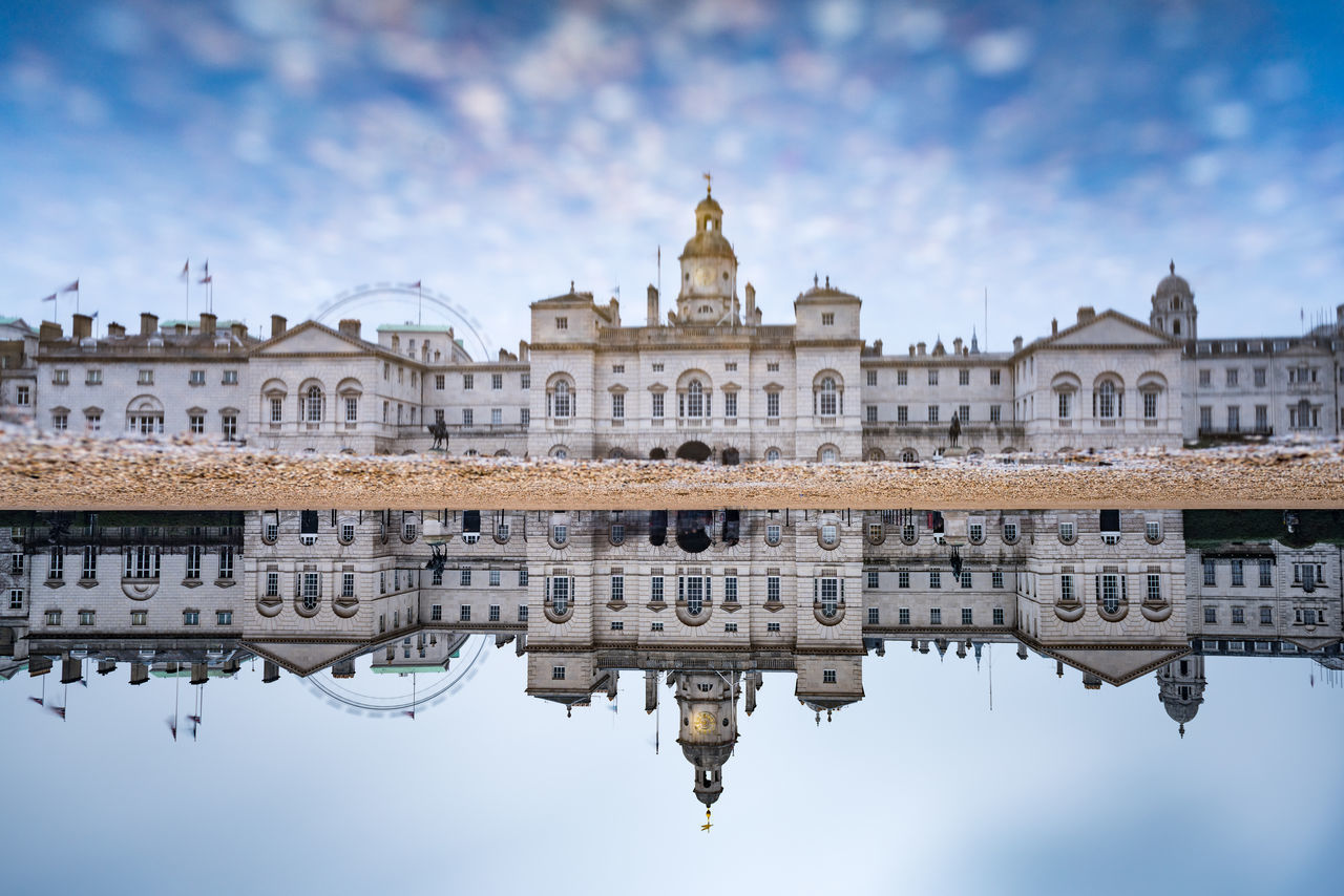 A palace, seen in a puddle Architecture Britain Capital Copy Space Day England Famous Place Horse Guards Parade London Mirror No People Outdoors Palace Puddle Queen Reflection Tourism United Kingdom