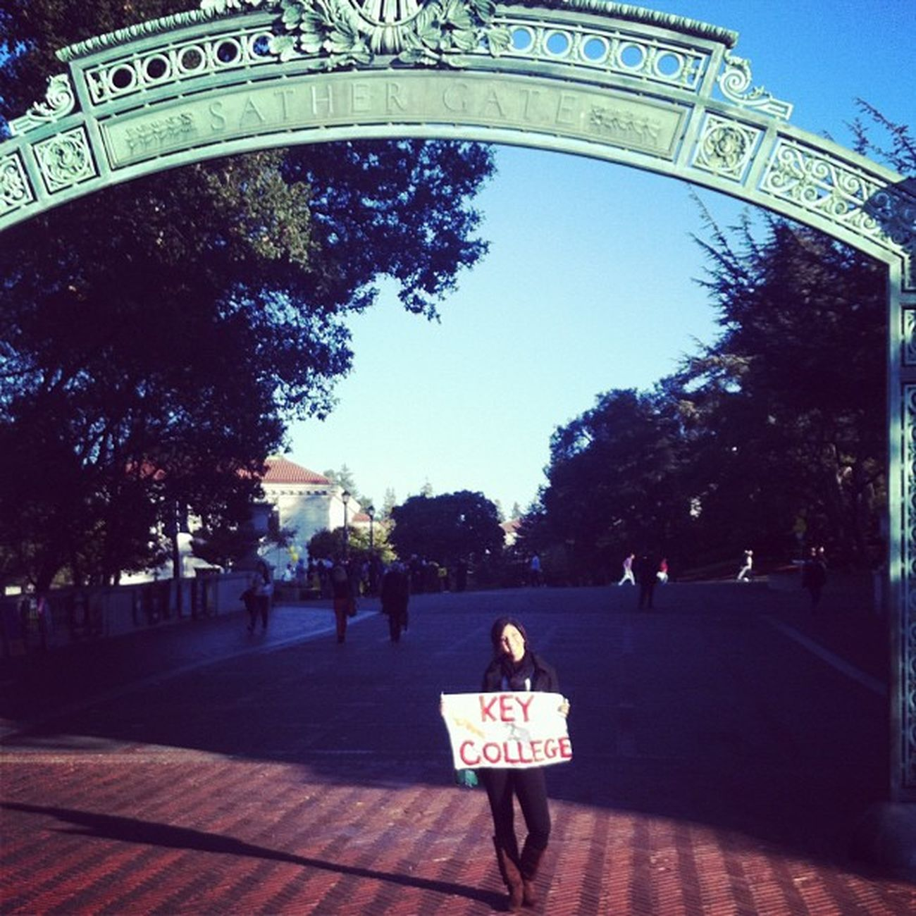 TBT  I stole an Asian kids sign! Nbd HeWasCool KeyToCollege UCBerkeley Berkeley College SanFranTrip ??