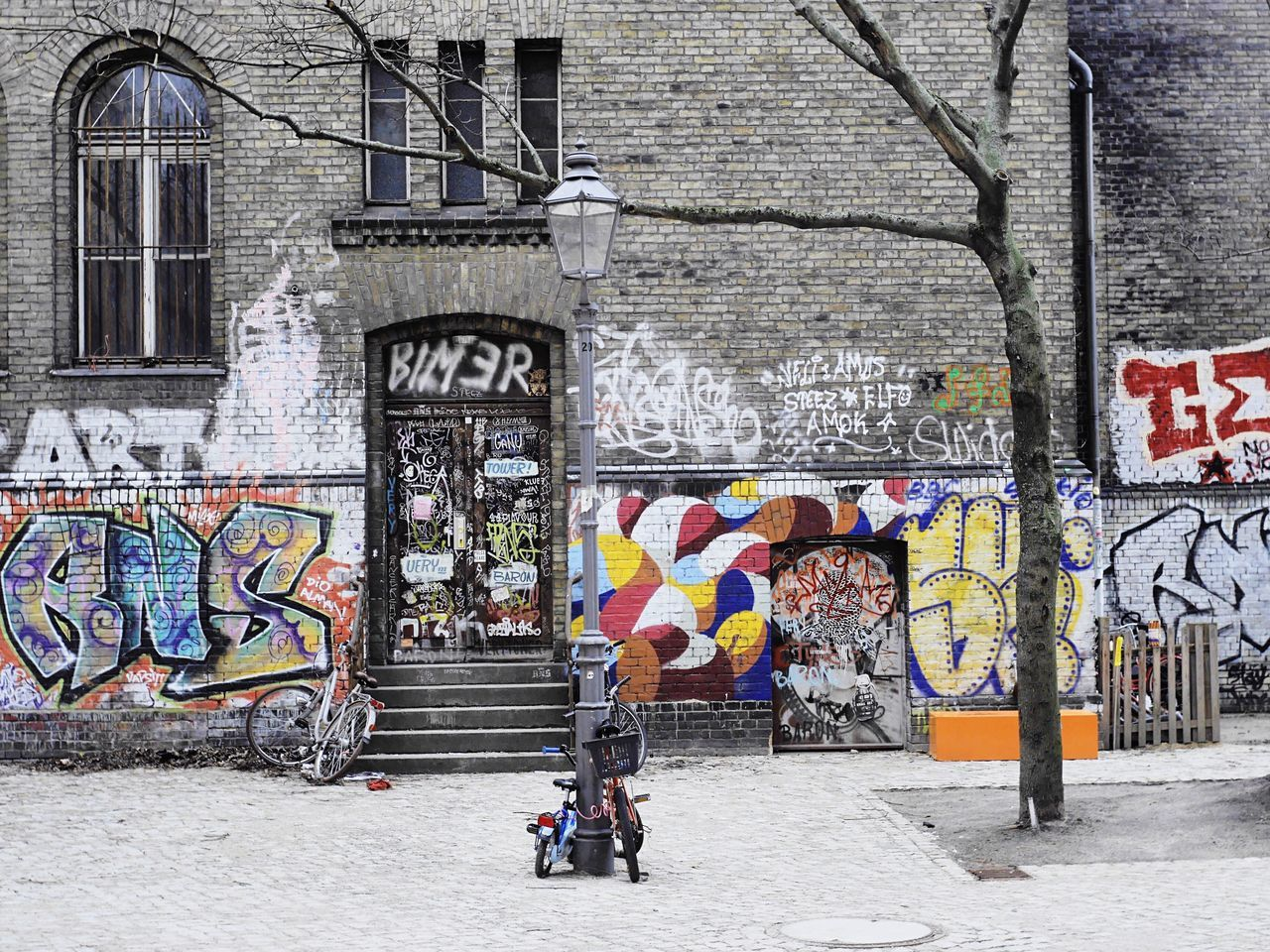 Architecture Built Structure Lifestyles Multi Colored Building Exterior City City Life Outdoors Bicycle Day Brick Building Facade Building Berlin Berlin Photography Berlin, Germany  Kreuzberg