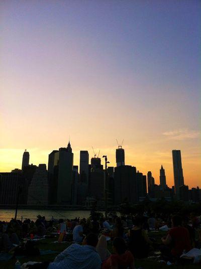 New York skyline sunset panorama over Hudson River