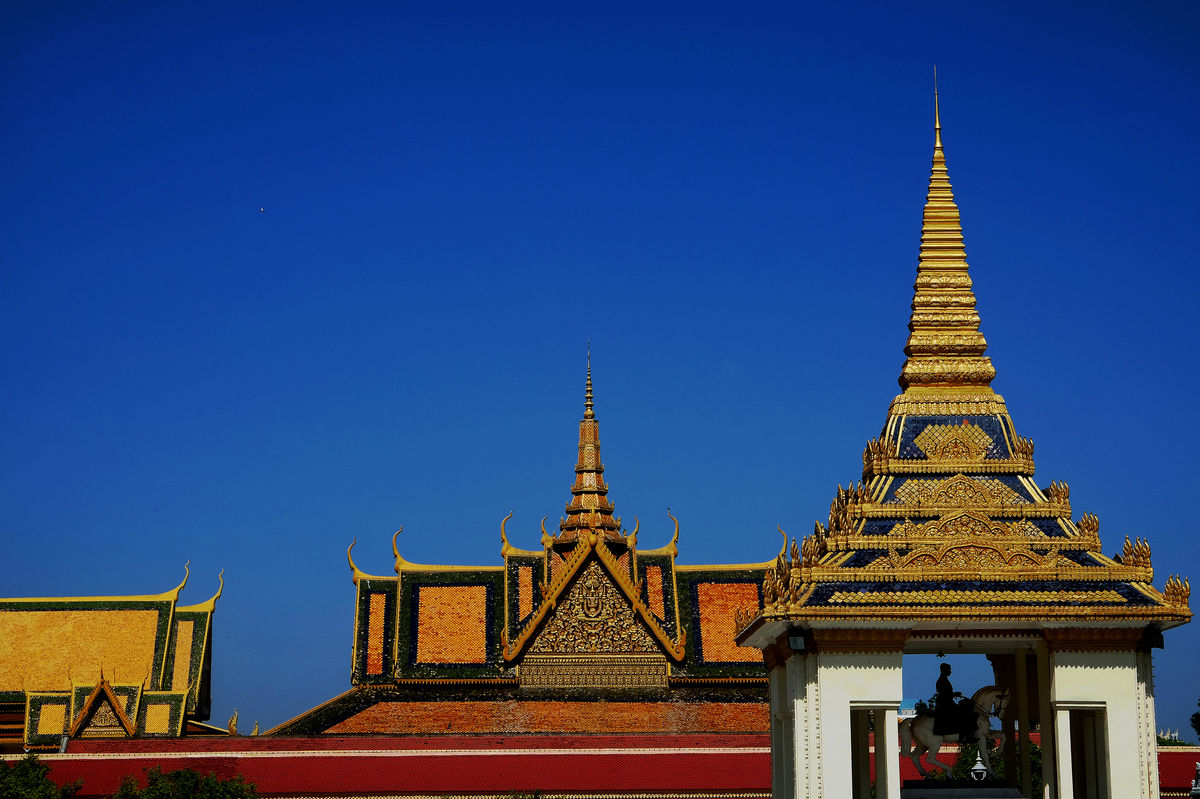 Architecture Blue Building Exterior Built Structure Cambodia Gold No People Place Of Worship Religion Royal Palace Phnom Penh Royal Residence Sky Travel Travel Destinations