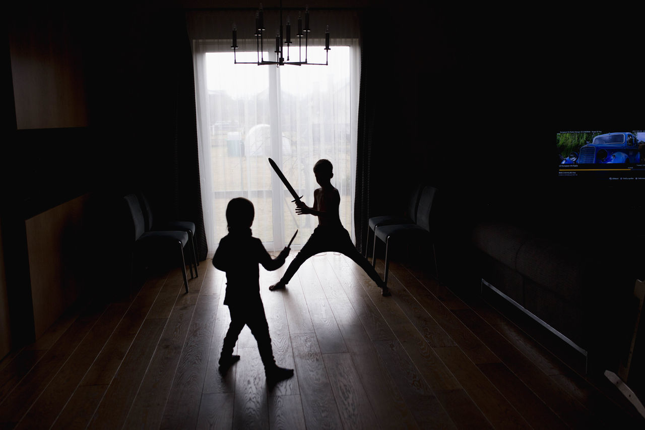 Adult Boys Child Childhood Children Only Day Domestic Life Full Length Home Interior Human Body Part Indoors  Males  Musical Instrument People Playing Real People Standing Togetherness Two People Window