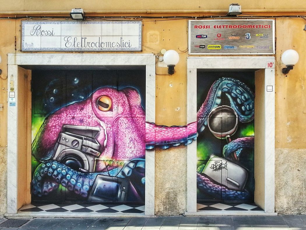 My Neighborhood Restyling Shutter Art Street Art Outdoors Arts Culture And Entertainment Day No People Building Exterior Architecture Graffiti Art Arts And Crafts Note 2 Smartphone Photography Graphic Arts Piovra Octopus /Monster destroying Home Appliances Shop Store