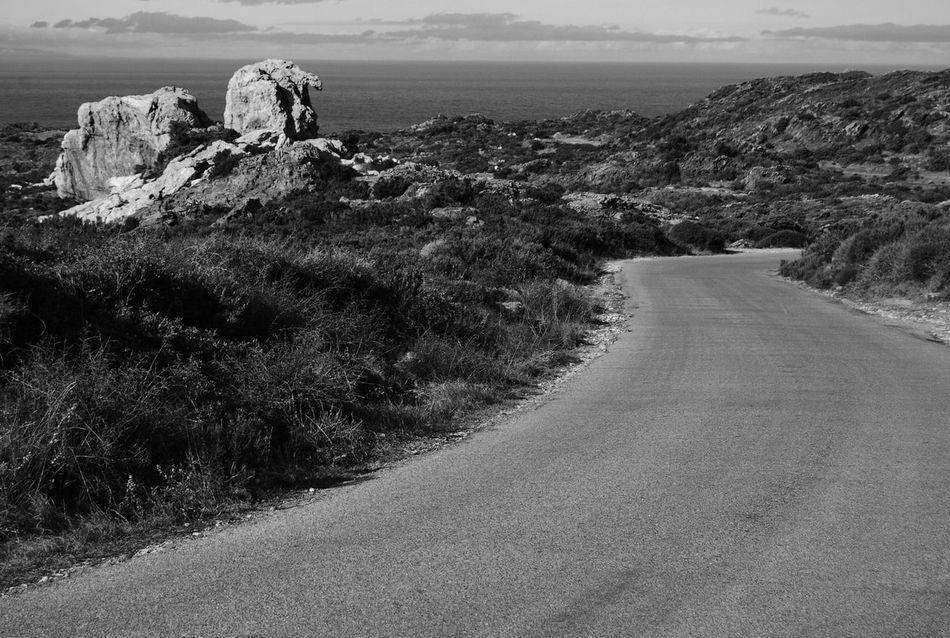 On The Road Again Blackandwhite