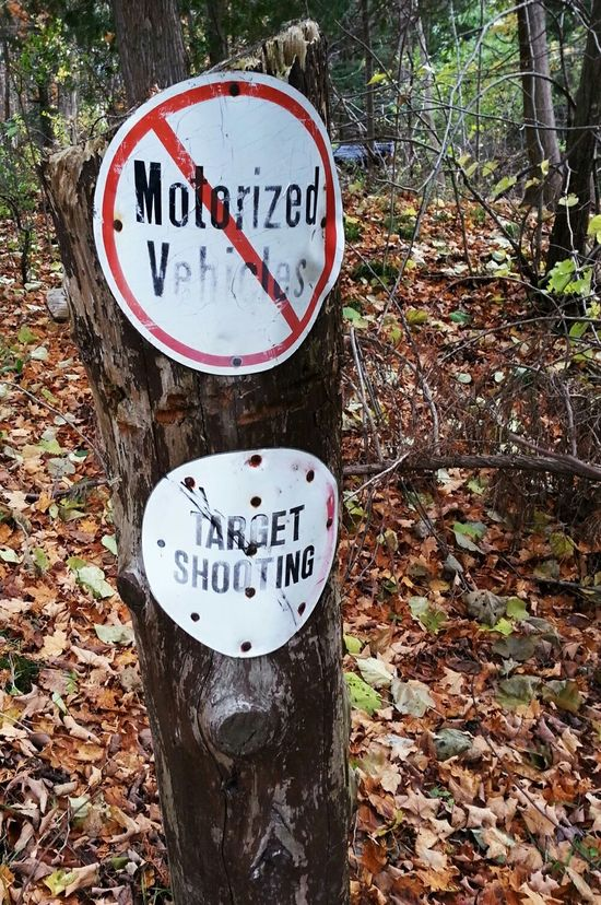 Signs Signs - Warnings No Vehicles Target Shooting Walking Path Forest