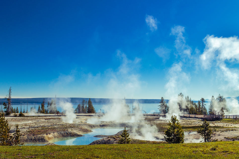 Beauty In Nature Blue Copy Space Famous Place Geyser Geyser Basin Morning Morning Light Scenics Sky Travel Destinations Water West Thumb West Thumb Geyser Basin Yellowstone Yellowstone Lake Yellowstone National Park
